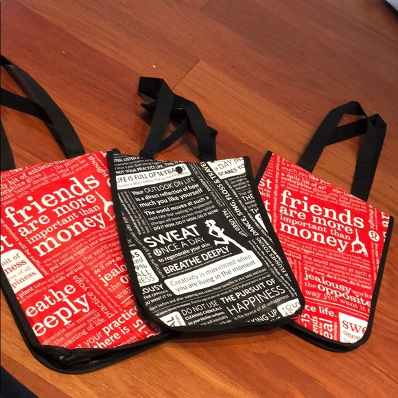 3 Lululemon small Reusable Tote gym Shopping Bags